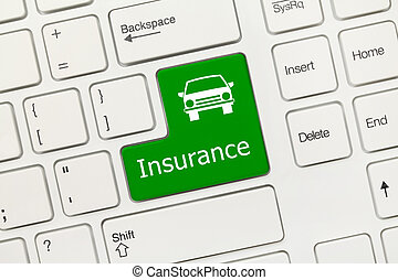 White conceptual keyboard - Insurance (green key with car icon)