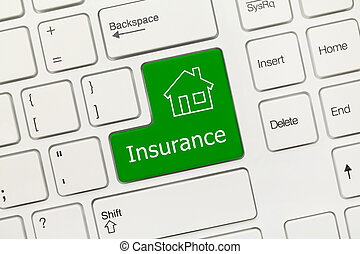 White conceptual keyboard - Insurance (green key with house icon