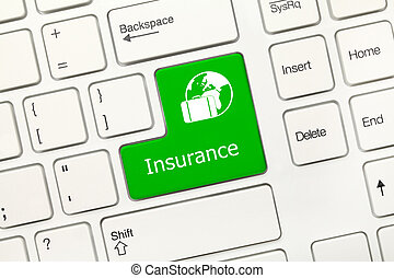 White conceptual keyboard - Insurance (green key with travel symbol)
