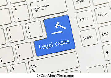 White conceptual keyboard - Legal cases (blue key with gavel symbol)