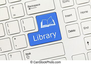White conceptual keyboard - Library (blue key)