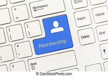 Close-up view on white conceptual keyboard - Membership (blue key)