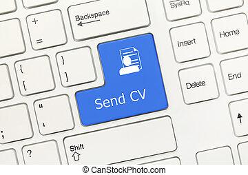 White conceptual keyboard - Send CV (blue key)