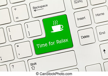 White conceptual keyboard - Time for Relax (green key with coffee cup symbol)