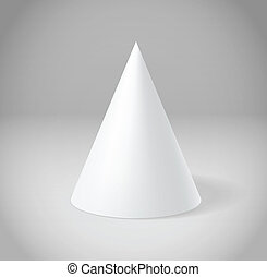 White cone on grey scene