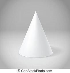 White cone on grey scene