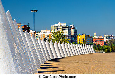 White cones of trencadis in Valencia, Spain - White cones of...