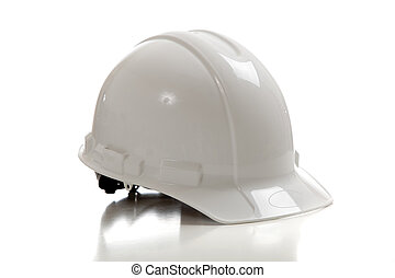 A white construction workers hard hat on a white background