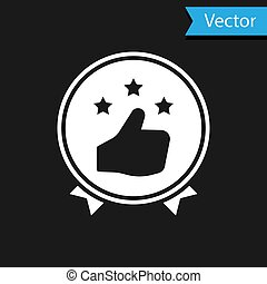 White Consumer or customer product rating icon isolated on black background. Vector Illustration
