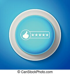 White Consumer or customer product rating icon isolated on blue background. Circle blue button with white line. Vector illustration
