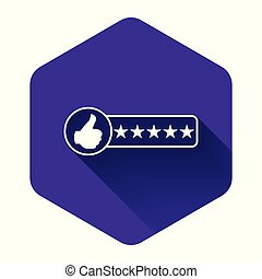 White Consumer or customer product rating icon isolated with long shadow. Purple hexagon button. Vector Illustration