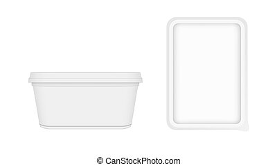 White Container For Margarine Spread Or Butter. Front And Top View On White Background. EPS10 Vector