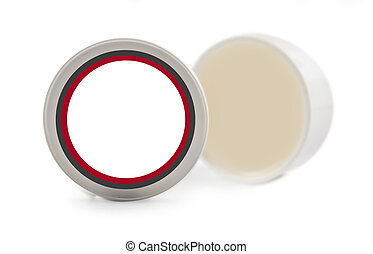 White container with salve or cream on white background