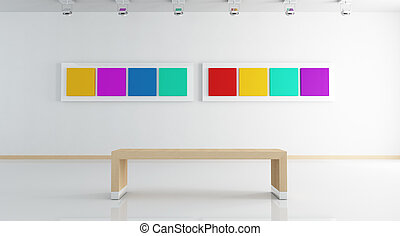 white contemporary art gallery with colored picture -rendering