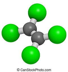 (white), convencional, coding:, (tetrachloroethylene), perchloroethylene, cor, solvente, átomos, esferas, model., representado, carbono, (grey), molecular, hidrogênio, lavagem seco, cloro, (green)