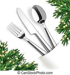 White Convert Napkin Fork Knife Spoon Fir Twigs
