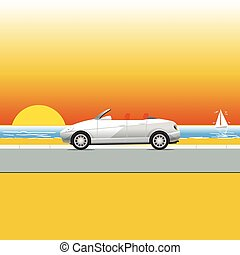 White convertible on a sunny beach