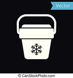 White Cooler bag icon isolated on black background. Portable freezer bag. Handheld refrigerator. Vector Illustration