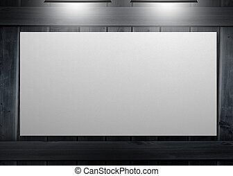 White copy space poster hung on a wall and lighted with ...