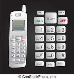cordless phone - white cordless phone isolated over black...