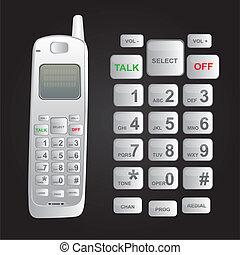 cordless phone - white cordless phone isolated over black...