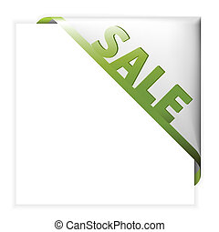 White corner ribbon for items with sale
