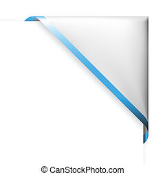 White corner ribbon with blue thin border and place for your text