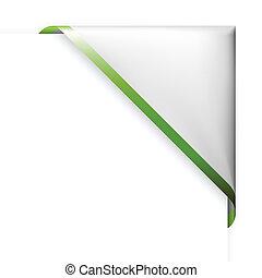 White corner ribbon with green  border