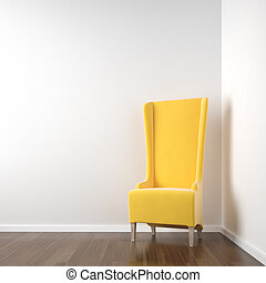 white corner room with yellow chair - interior scene of...