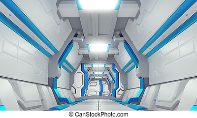 White Corridor of a spaceship with blue decor. sci-fi spacecraft 3d illustartions.