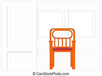 White, corrugated wall with a chair
