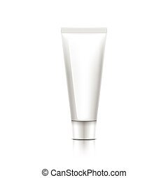 white cosmetic bottle of cream on pink background.