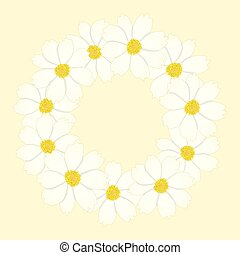 White Cosmos Flower Wreath.