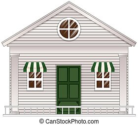 White cottage with green door