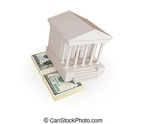 White Court House and big money stack. Bride concept. ...