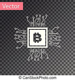 White CPU mining farm icon isolated on transparent background. Bitcoin sign inside processor. Cryptocurrency mining community. Digital money. Vector Illustration