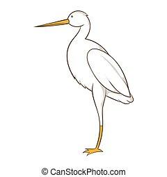 White crane icon, cartoon style