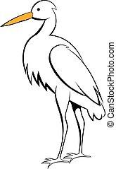 White crane icon cartoon