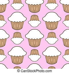 White cream cupcake seamless pattern