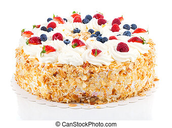 White Cream Icing Cake with Fruits, on a white background