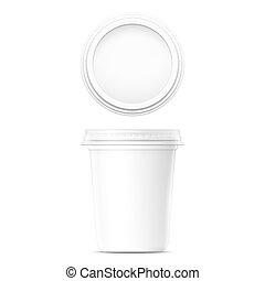 White cream pot template.