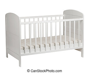 White crib for kids isolated on white background