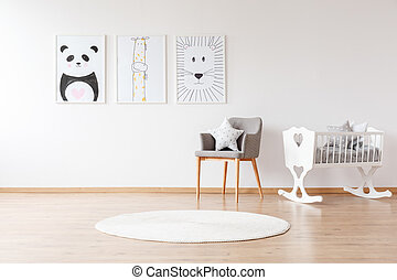 White crib in baby's room