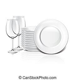 White crockery vector illustration - White crockery isolated...