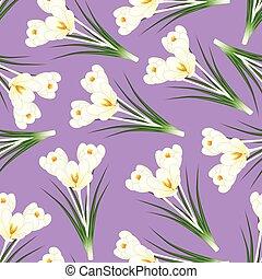 White Crocus Flower on Light Purple Background
