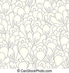 Crocus Flower Outline Seamless Background