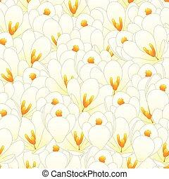 White Crocus Flower Seamless Background