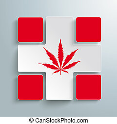White Cross 4 Red Rectangles Cannabis - White plus symbol...
