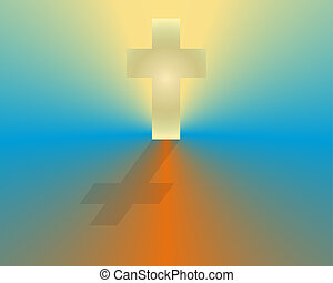 A glowing white cross at sunrise to symbolize hope