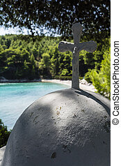 White Cross in Beach of alonissos, Greece
